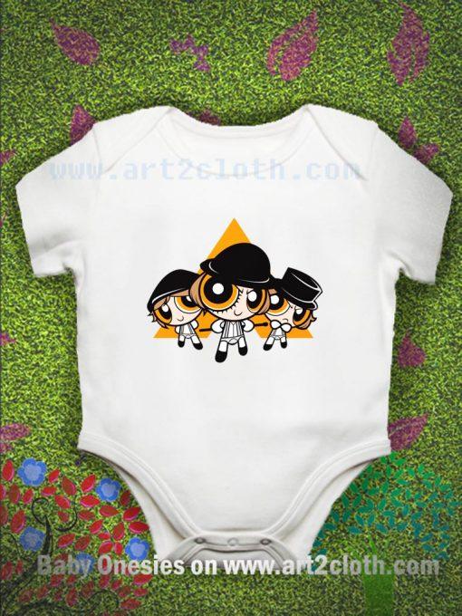 A Puffwork Orange Baby Onesie
