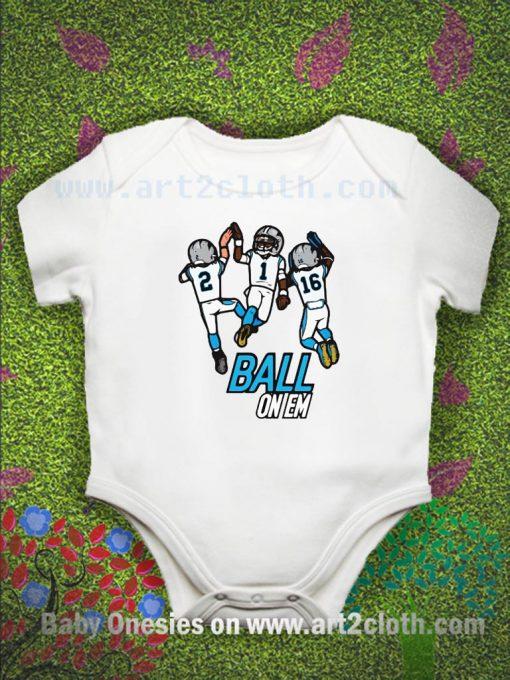 Ball On Em Carolina Panther Baby Onesie