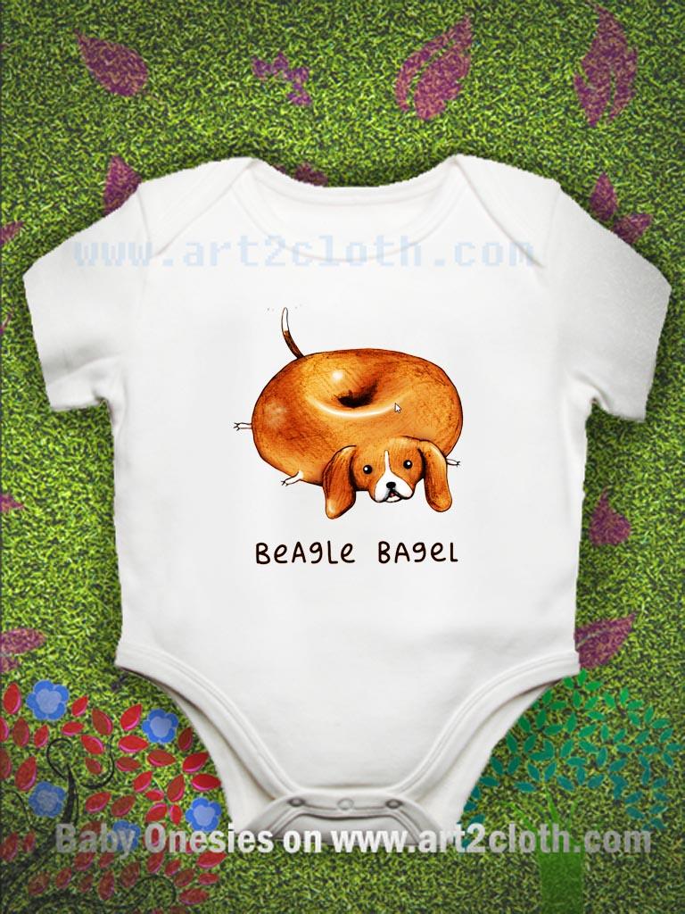 Beagle Bagel Baby Onesie | Cheap Custom T Shirts - Art2cloth.com