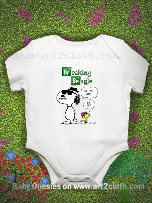 Snoopy And Woodstock Breaking Beagle Baby Onesie
