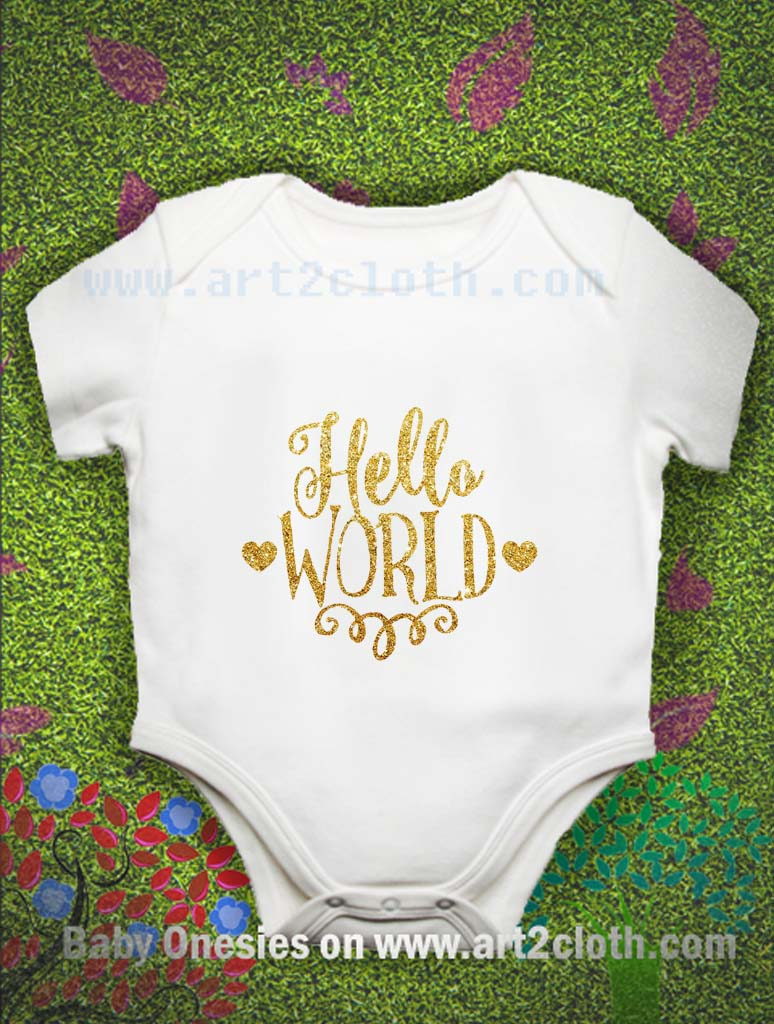 Funny Quote Hello World Font Gold Baby Onesie Cheap