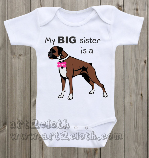 Dog Onesie My Big Sister Is A Boxer Baby Onesie Cheap