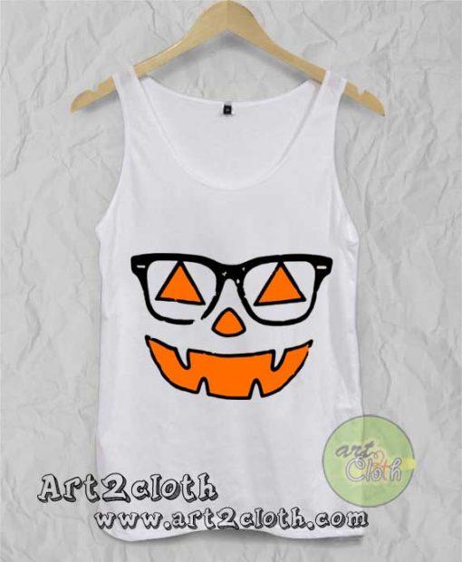 Cute Nerdy Pumpkin Girl Halloween Unisex Adult Tank Top