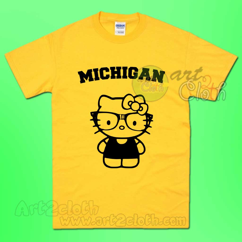 Michigan Hello Kitty Yellow T Shirt Cheap Custom T Shirts