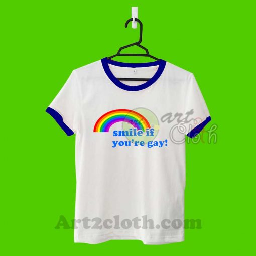 Smile If You Are Gay Unisex Ringer T Shirt