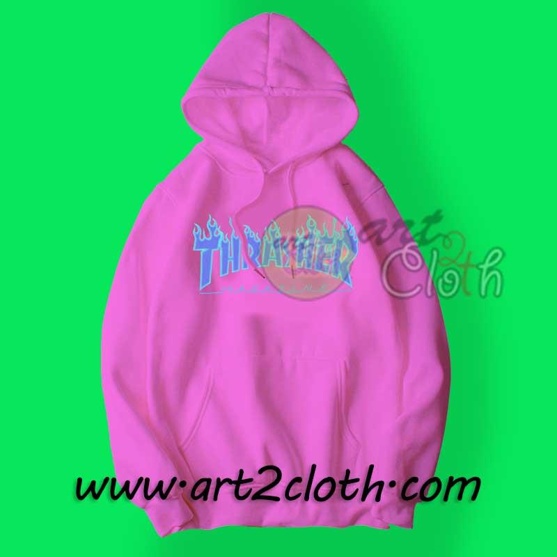 22b3010756a3 Thrasher Blue Flame Fire Cheap Custom Unisex Hoodie - Art2cloth.com