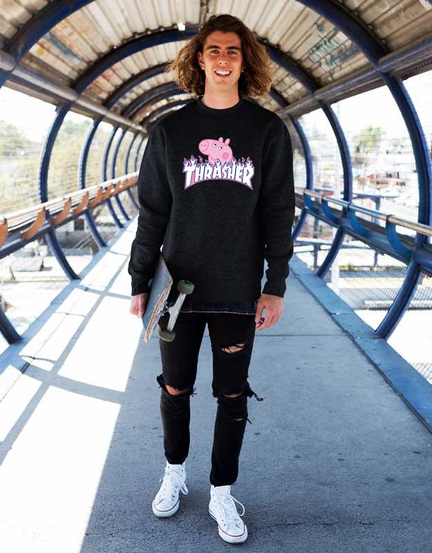 c618db9f9a98 Thrasher Peppa Pig Collaboration Sweatshirt   Custom Sweatshirts Store