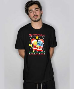 Merry Christmas Pikachu And Stitch T Shirt
