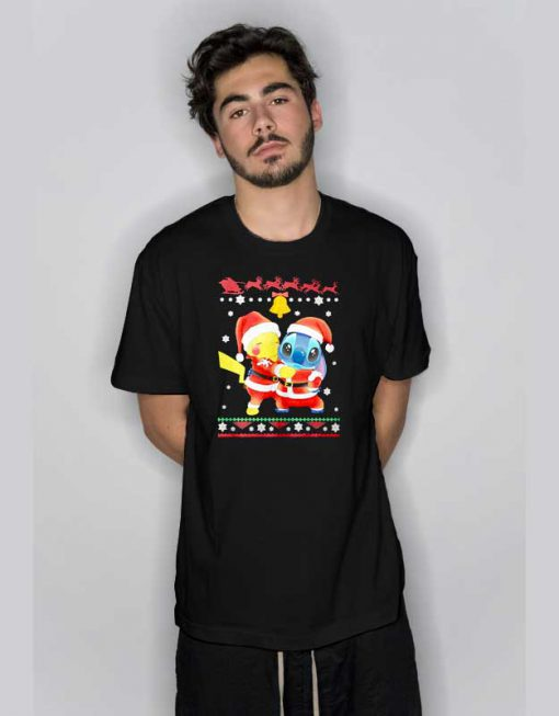 Merry Christmas Pikachu And Stitch T Shirt