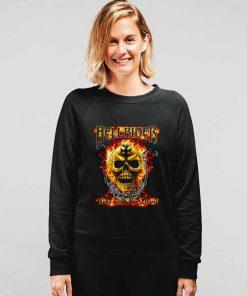 Heavy Metal Flaming Skull Biker Sweatshirt