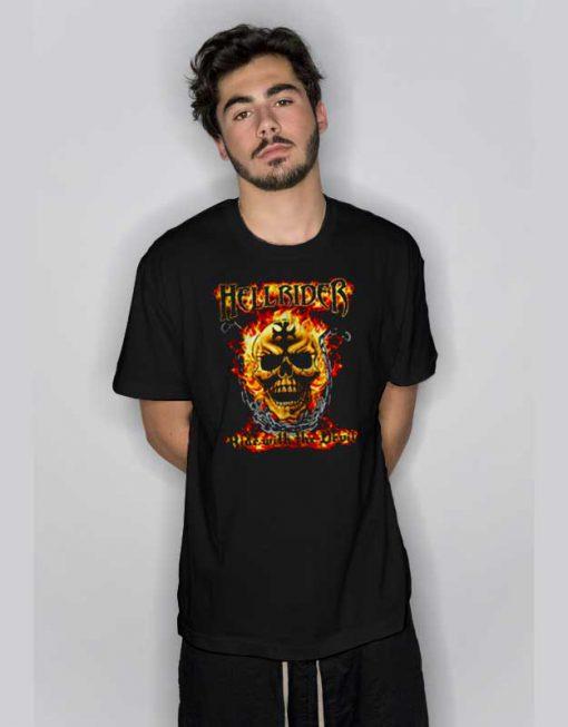 Heavy Metal Flaming Skull Biker T Shirt