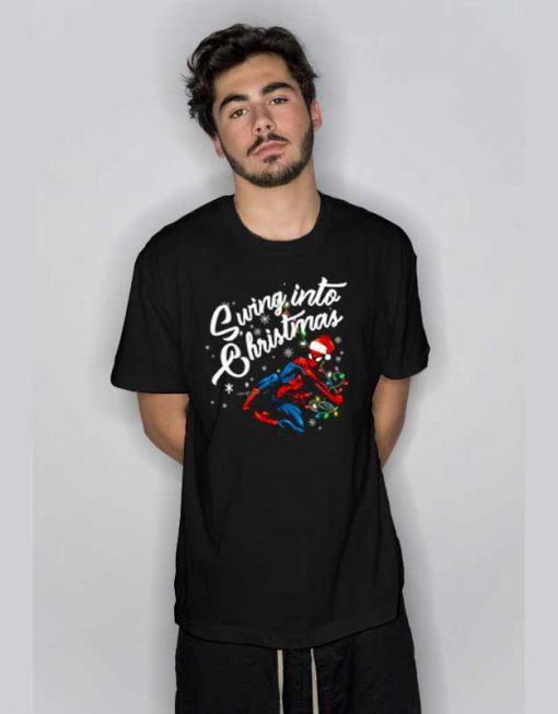 Swing Into Christmas Spiderman T Shirt