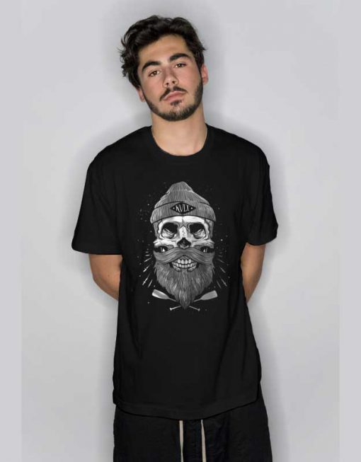 Skull Beard Cool Graphic T Shirt