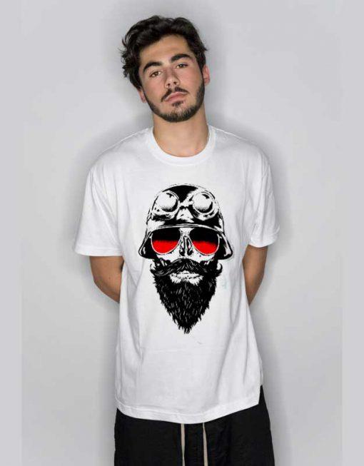 Wellcoda Skull Beard Hippie T Shirt
